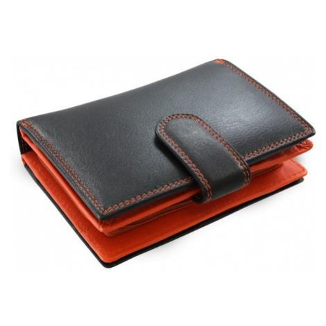 Černooranžová dámská kožená peněženka se zápinkou Jennifer Arwel
