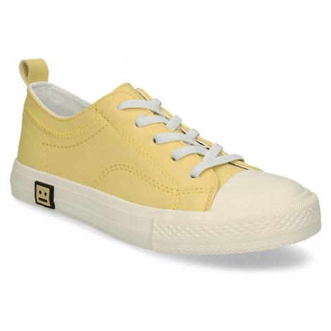 Žluté dětské tenisky s koženou stélkou a smajlíkem na podešvi Baťa