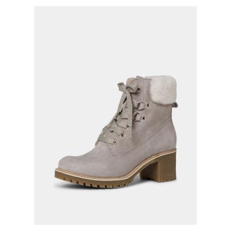 Tamaris béžové semišové kotníkové zimní boty - 41