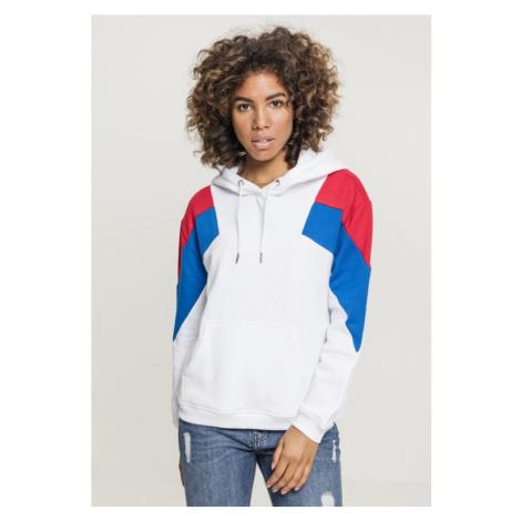 Ladies Oversize 3-Tone Block Hoody - white/fire red/bright blue Urban Classics