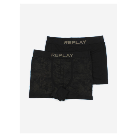 Boxerky Replay Boxer Style 03/C Seamless Cuff Logo + Camoucork 2Pcs Černá