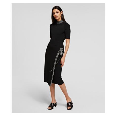 Sukně Karl Lagerfeld Logo Tape Wrap Knit Skirt - Černá