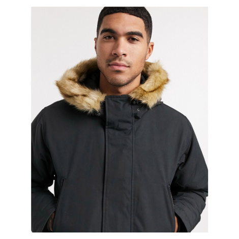 Levi's woodside long utility hooded parka jacket in jet black Levi´s