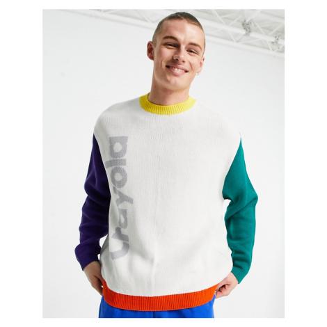 ASOS DESIGN Crayola jacquard knit jumper in multi colour sleeves
