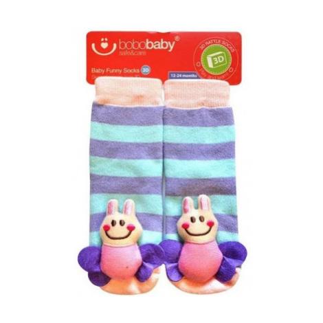 BOBO BABY Dětské protiskluzové ponožky 3D - Včelka, fialová, vel.