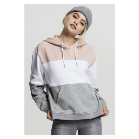Ladies Oversize 3-Tone Hoody - light rose/white/grey Urban Classics