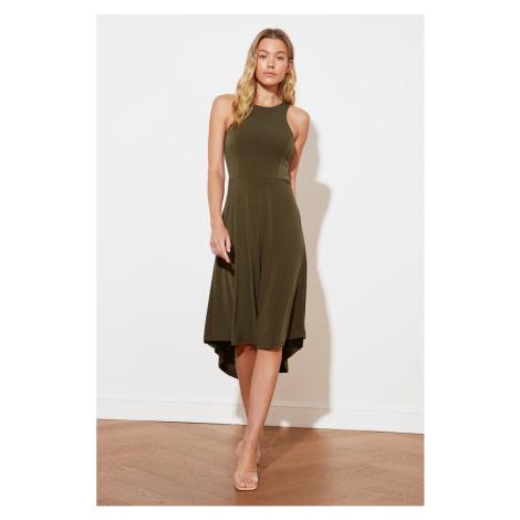 Trendyol Khaki Halter Collar Midi Knitted Dress