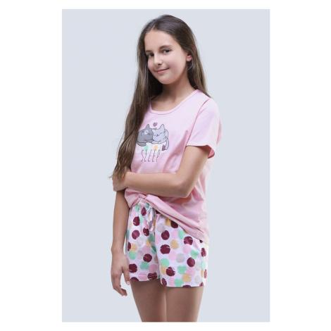 Dívčí letní pyžamo Cats růžové Gina