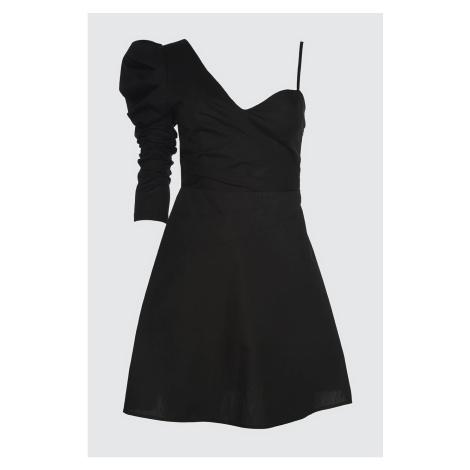 Trendyol Black Cruise Collar Poplin Dress