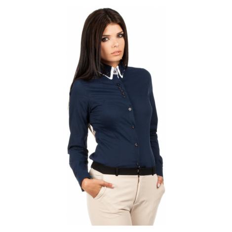 MOE košile dámská 067 dvojitý límeček tmavě modrá