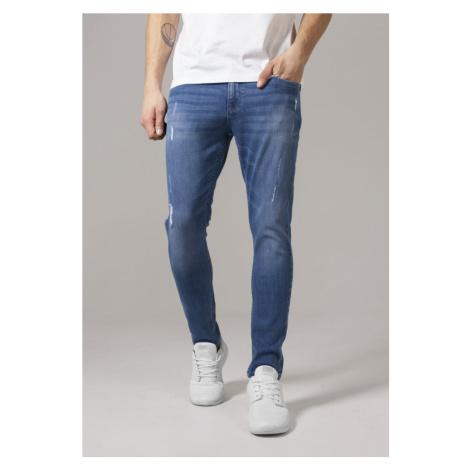 Skinny Ripped Stretch Denim Pants - blue denim Urban Classics