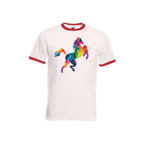 Pánské tričko s kontrastními lemy Kůň z polygonů