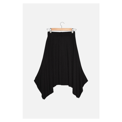 Trendyol Black Ribbed Knitted Handkerchief Petite Skirt
