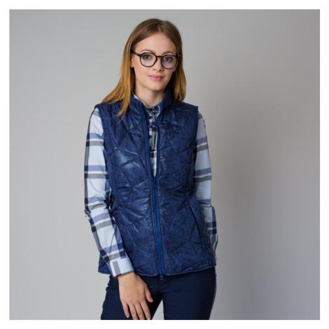 Dámská prošívaná vesta modrá s jemným vzorem 12211 Willsoor