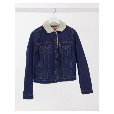 Levi's original sherpa trucker jacket in mid wash blue Levi´s
