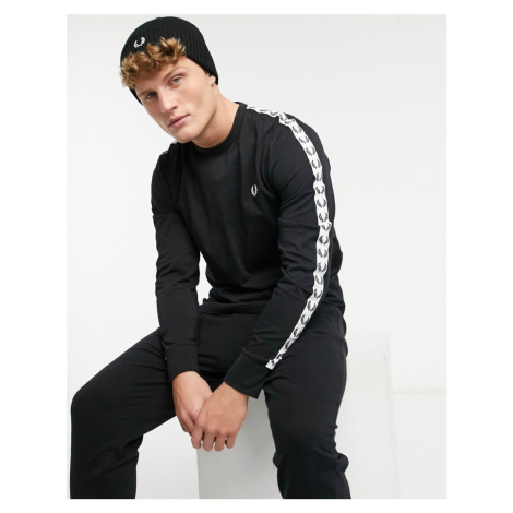 Fred Perry taped long sleeve t-shirt in black