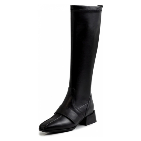 Dámské kožené kozačky semišové vysoké boty na podpatku