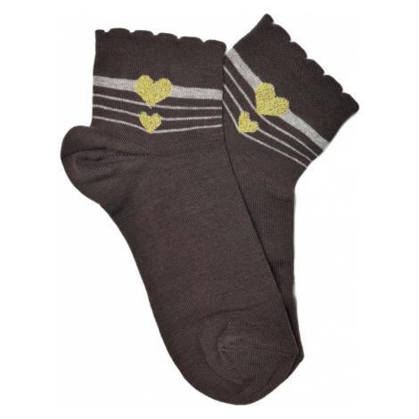 Turgadesign Kotníkové ponožky Srdíčko Barva: Hnědá