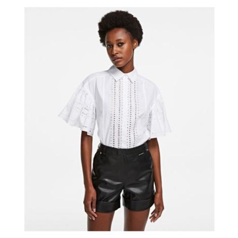 Košile Karl Lagerfeld Embroidered Poplin Shirt - Bílá