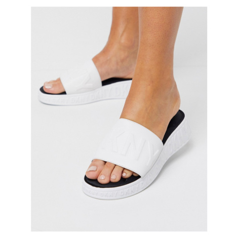 DKNY Mara embossed logo sliders-White