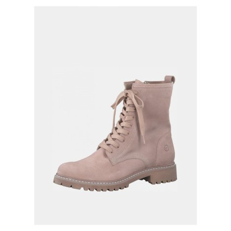 Tamaris růžové kožené kotníkové boty