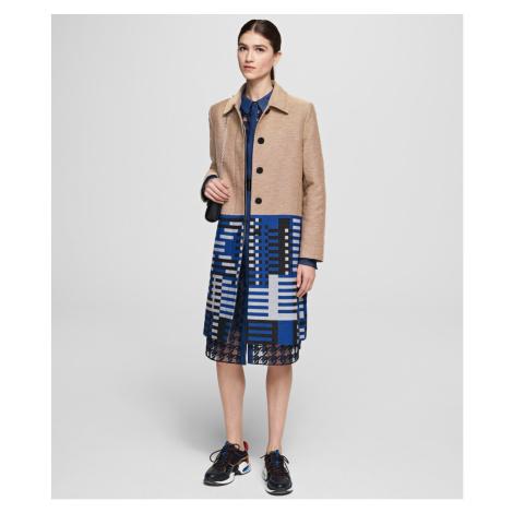 Kabát Karl Lagerfeld Karl Jacquard Coat - Hnědá