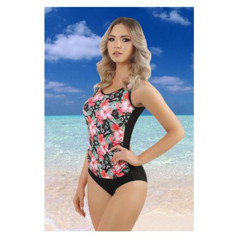 Jednodílné dámské plavky Karlie černé s květy
