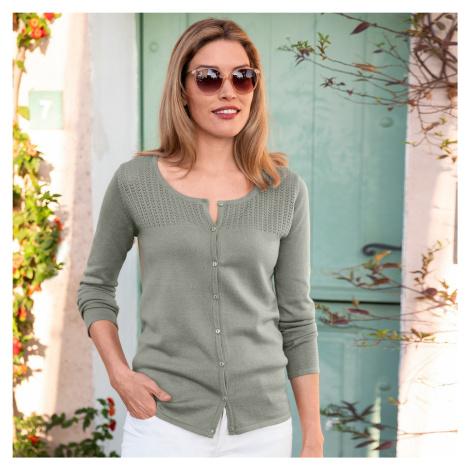 Blancheporte Kardigan s pleteným vzorem zelenkavá