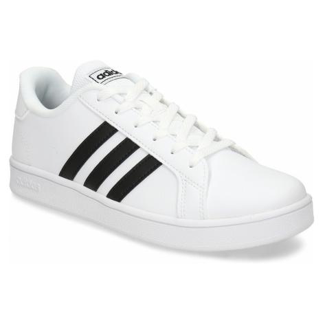 BÍLÉ DĚTSKÉ TENISKY S ČERNÝMI PRUHY Adidas