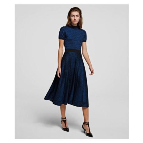 Sukně Karl Lagerfeld Lurex Pleated Skirt - Modrá