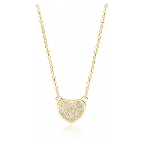 OLIVIE Stříbrný náhrdelník SRDÍČKO GOLD 4078