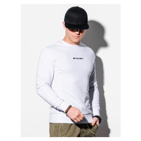 Ombre Clothing Mikina bez kapuce v bílém provedení B1215