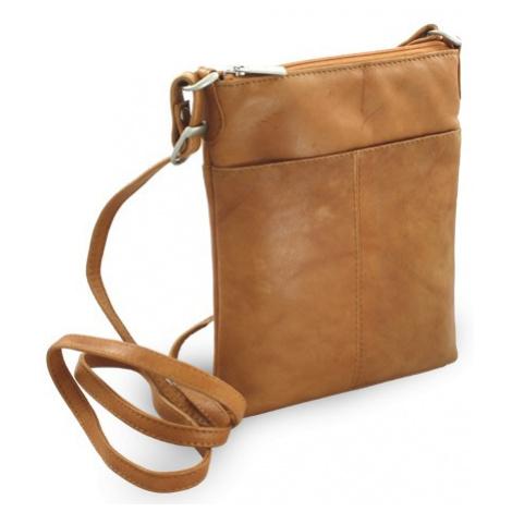 Světle hnědá dámská kožená zipová crossbody kabelka Jenny Arwel