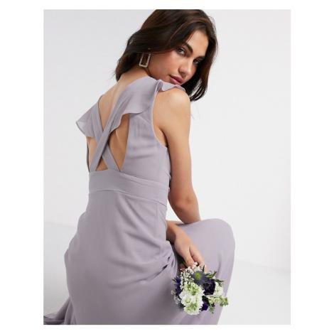 TFNC Bridesmaid ruffle detail maxi dress in grey