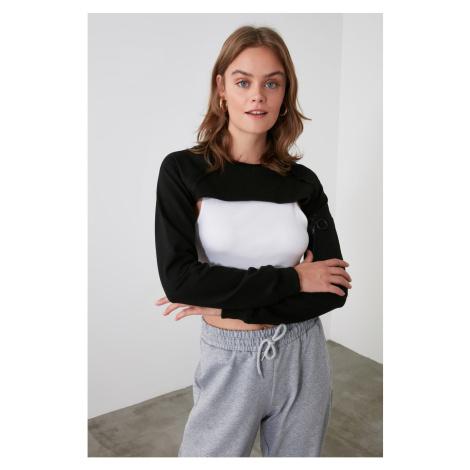 Trendyol Black Crop Sports Sweatshirt
