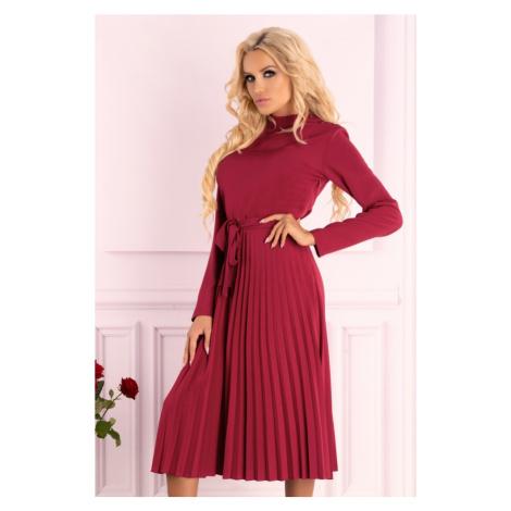 Elegantní midi šaty s vysokým límcem a plisovanou sukní Merribel
