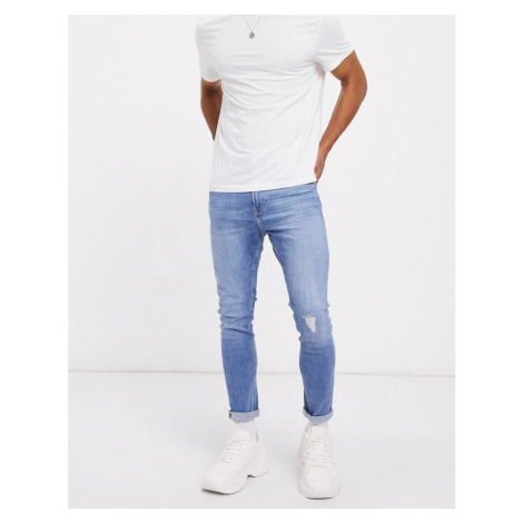 Bershka super skinny jeans with abrasions in mid blue