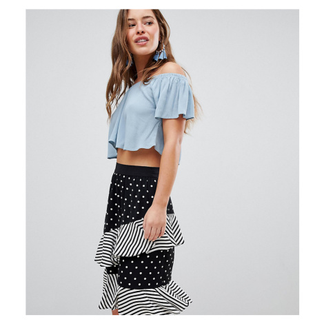 ASOS DESIGN Petite Crinkle Off Shoulder