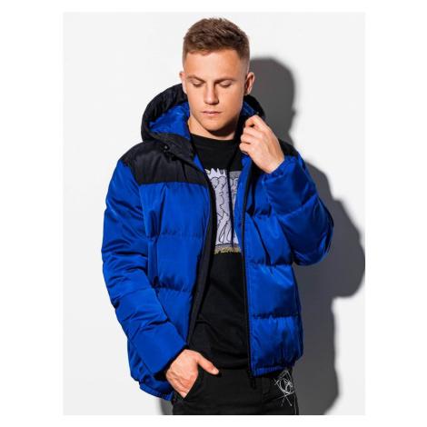 Ombre Clothing Modrá zimní bunda ve stylovém provedení C458