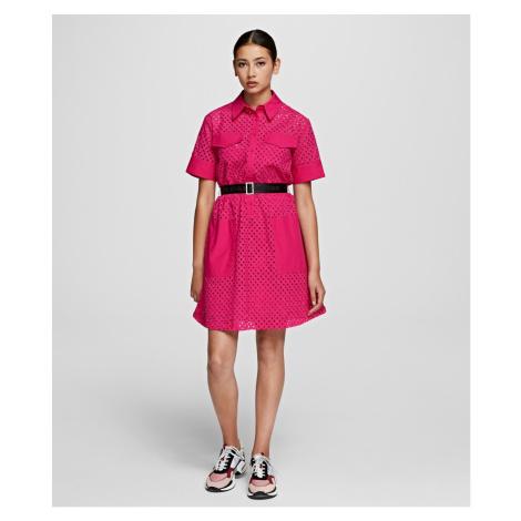 Šaty Karl Lagerfeld Karl Broderie Anglais Dress - Růžová