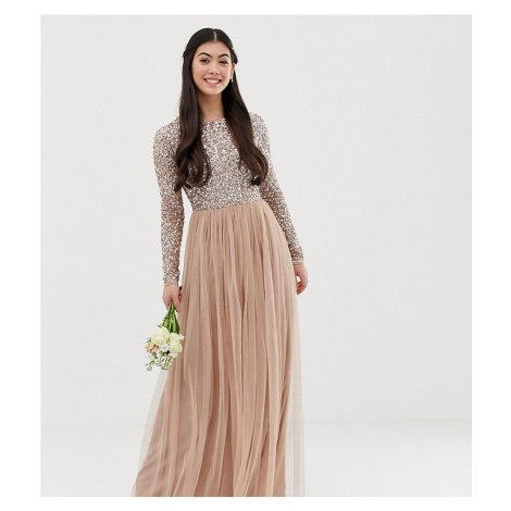 Maya Petite Bridesmaid long sleeve maxi tulle dress with tonal delicate sequins in taupe blush-B