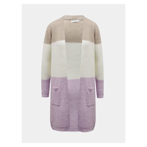 Béžovo-fialový dlouhý kardigan ONLY