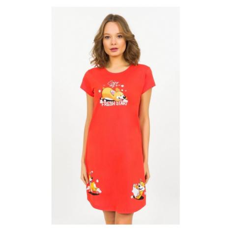 Dámská noční košile s krátkým rukávem Vienetta Secret Fresh start | červená