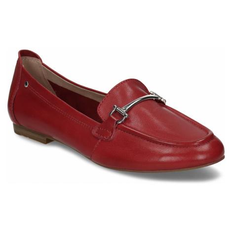 Červené dámské kožené mokasíny Baťa