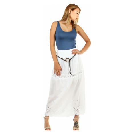 Dlouhá dámská jednobarevná sukně se vzorem