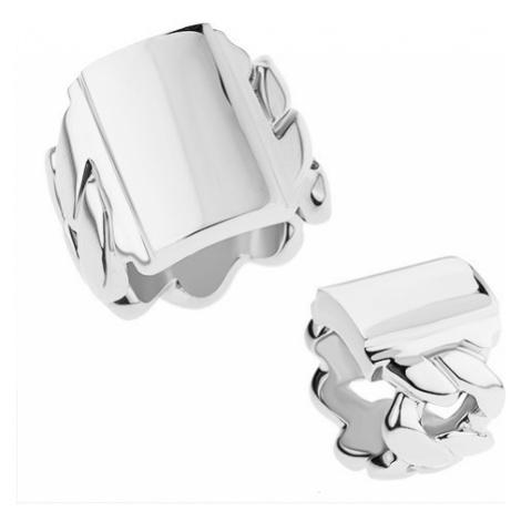 Mohutný prsten z chirurgické oceli s motivem řetězu, lesklý obdélník Šperky eshop