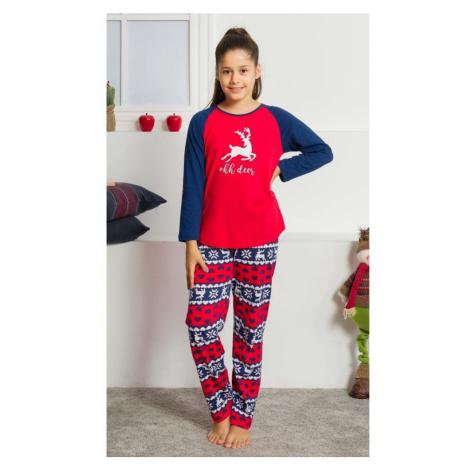 Dětské pyžamo dlouhé Ohh deer, červená