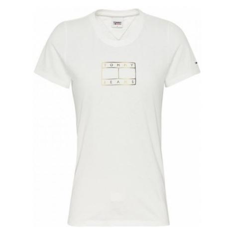 Tommy Hilfiger Tommy Jeans dámské bílé tričko OUTLINE FLAG TEE