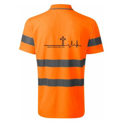 Jesus Saved My Life kříž ekg - HV Runway 2V9 - Reflexní polokošile