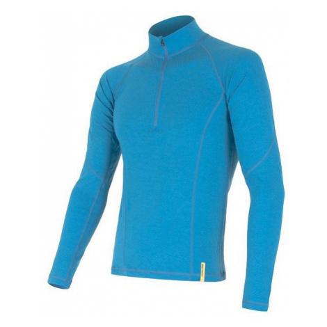 Pánské tričko SENSOR Merino DF dl. rukáv zip modrá